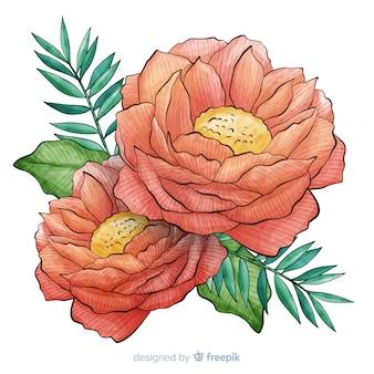 Bela flor de coral em aquarela