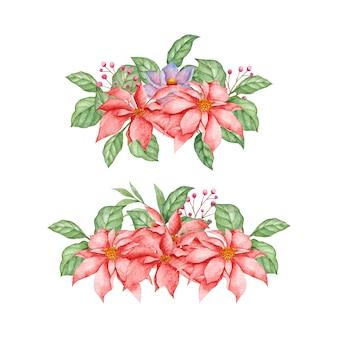 Bela flor de poinsétia em aquarela com folhas