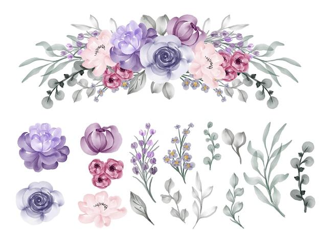 Bela flor rosa violeta aquarela clip-art isolado Vetor Premium