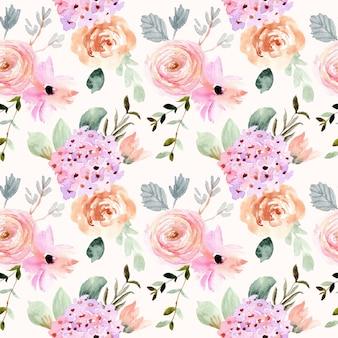 Bela flor suave aquarela padrão sem emenda