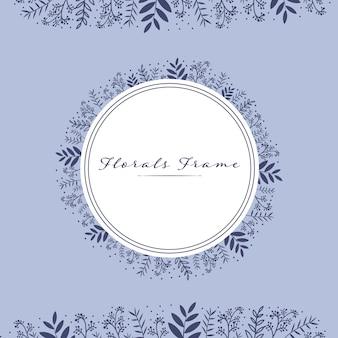 Bela florals deixa modelo de cartão de bandeira de quadro de círculo
