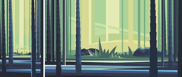 Bela floresta de bambu. cenário da natureza na orientação vertical e horizontal.
