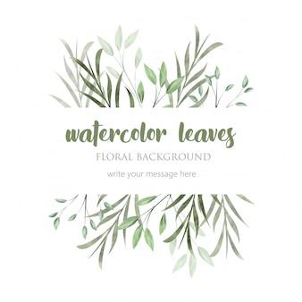 Bela fronteira com folhas de aquarela selvagens