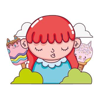Bela garota com donuts de gatos kawaii e sorvete