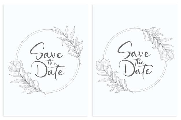 Bela guirlanda de casamento floral e moldura de casamento em estilo circular