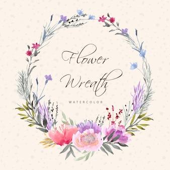 Bela guirlanda floral com aquarela