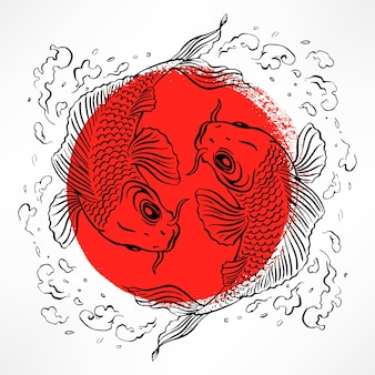 Bela ilustração com carpas japonesas no círculo vermelho. ilustração desenhada à mão