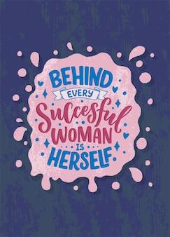 Bela ilustração com letras sobre mulher