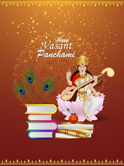 Bela ilustração da deusa saraswati com elemento criativo e plano de fundo