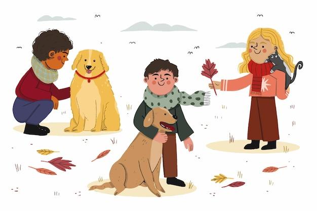 Bela ilustração de crianças e animais de estimação no outono