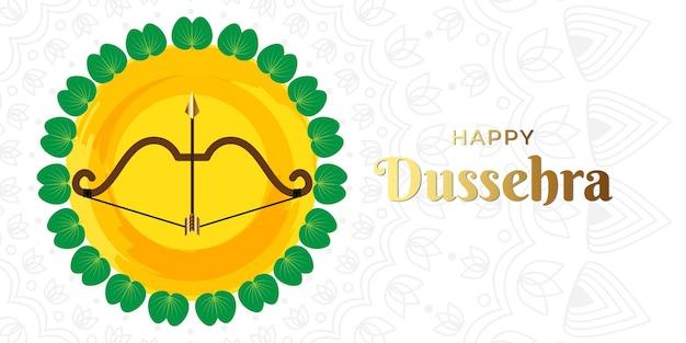 Bela ilustração de dussehra feliz com arco e folha de ouro