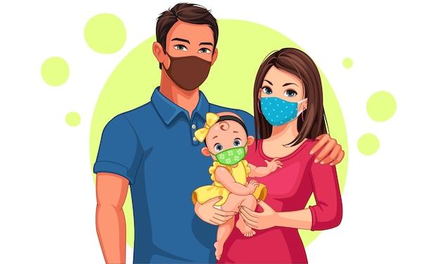 Bela ilustração de família de pai, mãe e filha usando máscara