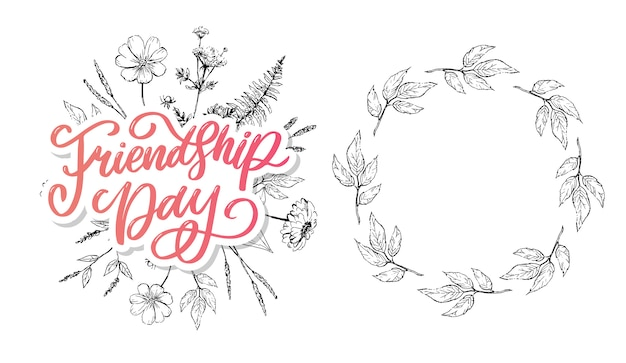 Bela ilustração de feliz dia da amizade, cartão decorado.
