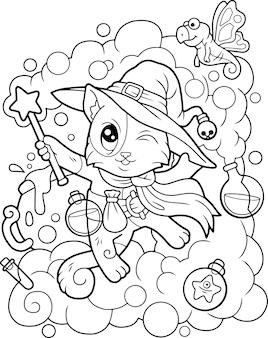 Bela ilustração de gato feiticeiro