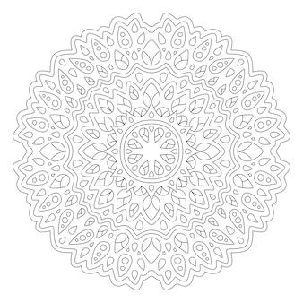 Bela ilustração de mandala para livro de colorir