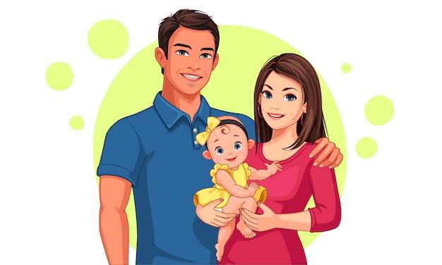 Bela ilustração de pai e mãe com filha
