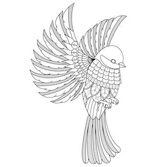 Bela ilustração de pássaro, zentangle mandala em livro para colorir de estilo linear