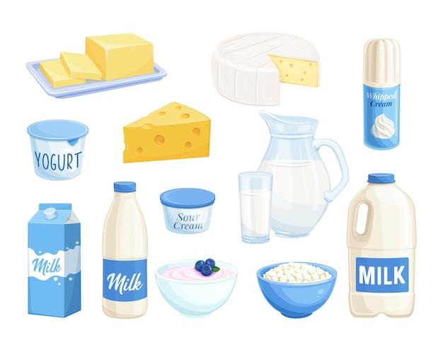 Bela ilustração de produtos lácteos