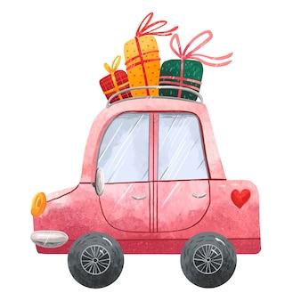 Bela ilustração de um carro de natal rosa com presentes no teto