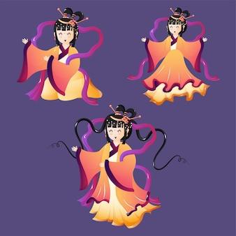 Bela ilustração de um conjunto de três personagens fofos chibi deusa da lua festival feliz meados de outono.