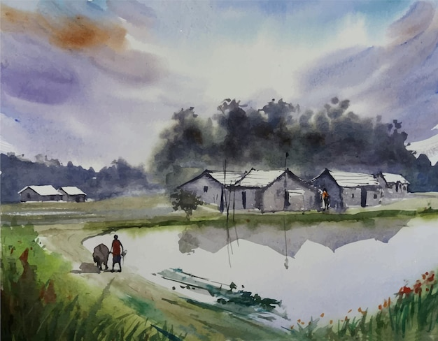 Bela ilustração de uma vila, pintura de paisagens naturais