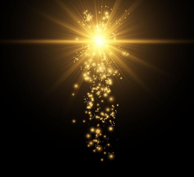 Bela ilustração dourada de uma estrela em um fundo translúcido com pó de ouro e brilhos.