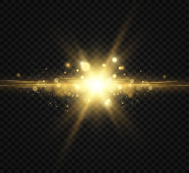 Bela ilustração dourada de uma estrela em um fundo translúcido com pó de ouro e brilhos