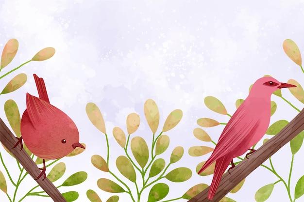 Bela ilustração em aquarela de pássaros sentados nos galhos