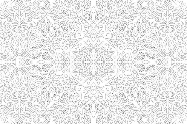 Bela ilustração em preto e branco para livro de colorir adulto com padrão floral linear retangular