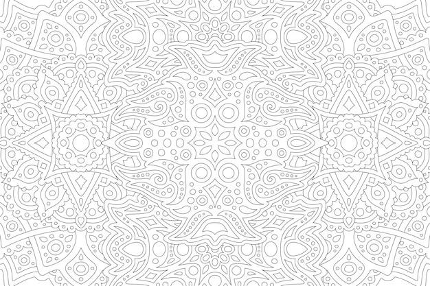 Bela ilustração em preto e branco para livro de colorir adulto com padrão linear oriental abstrato