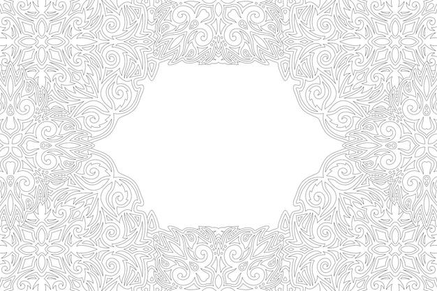 Bela ilustração linear monocromática para a página do livro de colorir adulto com borda vintage abstrata e espaço de cópia em branco