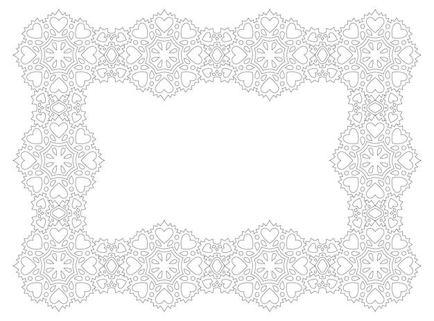 Bela ilustração linear monocromática para a página do livro de colorir do dia dos namorados com moldura retangular abstrata e formas de coração isoladas no fundo branco