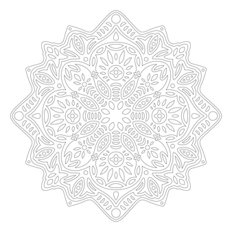 Bela ilustração linear monocromática para colorir a página do livro com padrão abstrato isolado no fundo branco