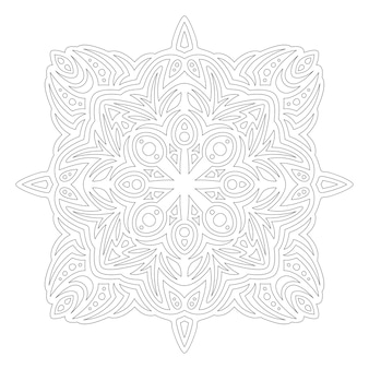 Bela ilustração linear monocromática para colorir a página do livro com um único padrão abstrato isolado