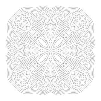 Bela ilustração linear monocromática para colorir página com padrão tribal abstrato