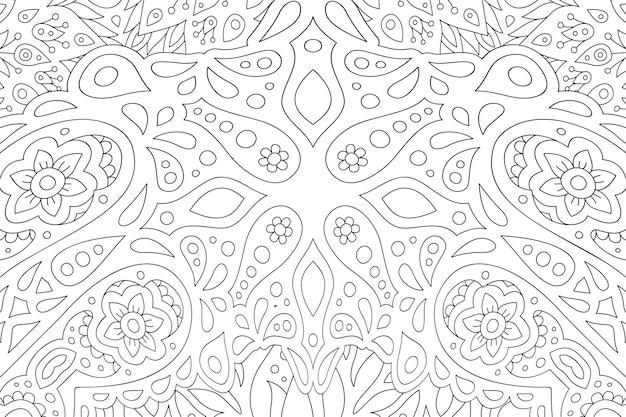 Bela ilustração linear monocromática para livro de colorir adulto com padrão floral abstrato