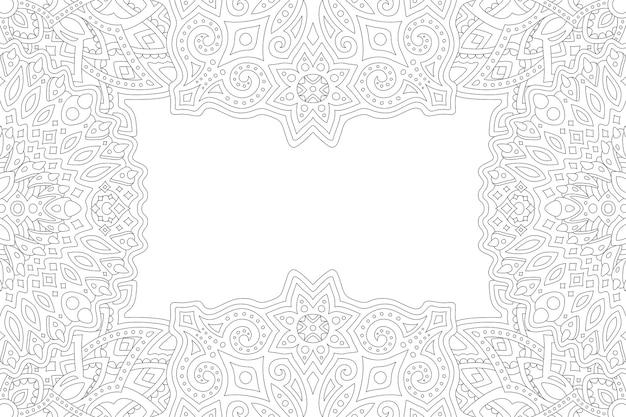 Bela ilustração linear monocromática para página de livro de colorir adulto com retângulo