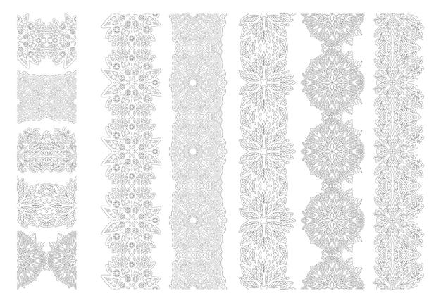 Bela ilustração linear vetorial monocromática para a página do livro de colorir adulto com coleção de pincéis florais abstratos isolada no fundo branco