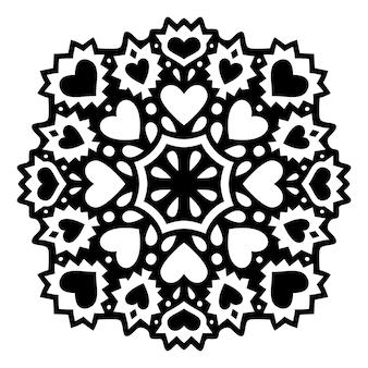 Bela ilustração monocromática de dia dos namorados com padrão preto abstrato isolado e formas de coração