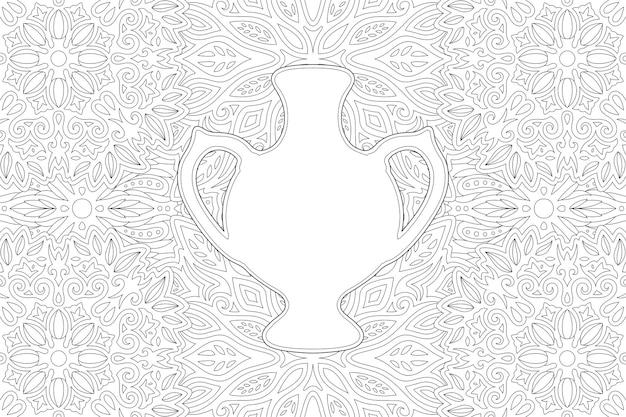 Bela ilustração monocromática para colorir a página do livro com forma de jarro branco