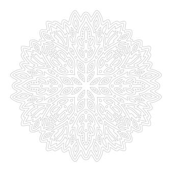 Bela ilustração monocromática para colorir a página do livro com padrão linear redondo abstrato isolado no fundo branco