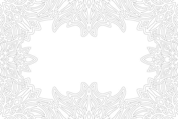 Bela ilustração monocromática para página de livro de colorir adulto com borda vintage abstrata e espaço de cópia em branco