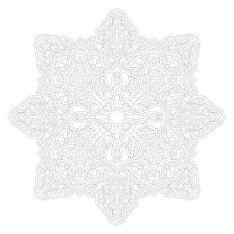 Bela ilustração monocromática para página de livro de colorir adulto com estrela abstrata