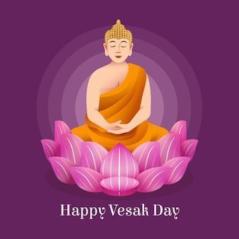 Bela ilustração para evento vesak com flor de lótus e monge