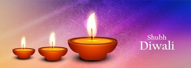 Bela ilustração para o festival de diwali com lâmpada de óleo para banner
