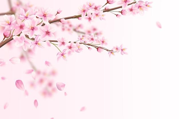Bela ilustração romântica de flores de sakura rosa com pétalas caindo.