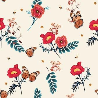 Bela ilustração romântica primavera florescendo floral,