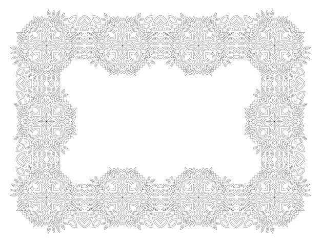 Bela ilustração vetorial linear monocromática para a página do livro de colorir adulto com moldura retangular abstrata isolada no fundo branco