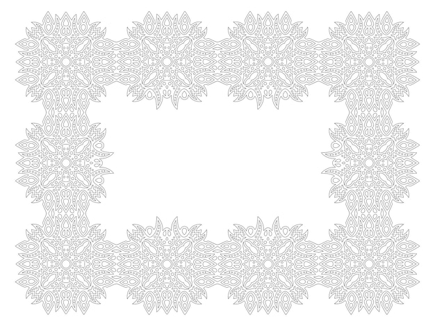 Bela ilustração vetorial linear monocromática para a página do livro de colorir adulto com quadro detalhado retângulo abstrato isolado no fundo branco