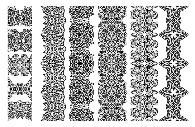 Bela ilustração vetorial monocromática com conjunto de pincéis tribais abstratos sem costura isolado no fundo branco.